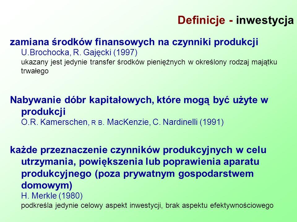 Definicje - inwestycja zamiana środków finansowych na czynniki produkcji U.Brochocka, R. Gajęcki (1997) ukazany jest jedynie transfer środków pieniężn