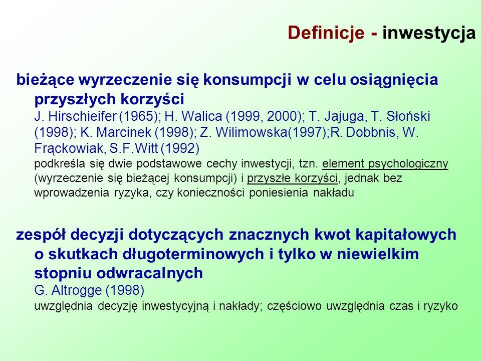 Definicje - inwestycja bieżące wyrzeczenie się konsumpcji w celu osiągnięcia przyszłych korzyści J. Hirschieifer (1965); H. Walica (1999, 2000); T. Ja