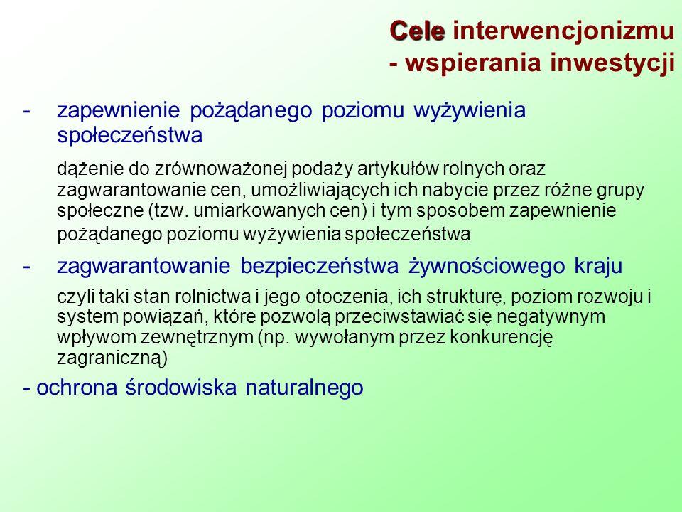 Cele Cele interwencjonizmu - wspierania inwestycji -zapewnienie pożądanego poziomu wyżywienia społeczeństwa dążenie do zrównoważonej podaży artykułów