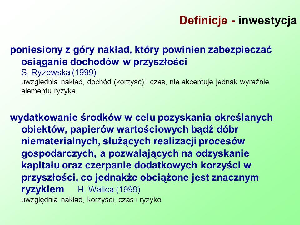 Definicje - inwestycja poniesiony z góry nakład, który powinien zabezpieczać osiąganie dochodów w przyszłości S. Ryżewska (1999) uwzględnia nakład, do