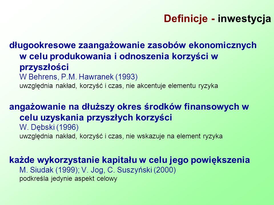 Definicje - inwestycja długookresowe zaangażowanie zasobów ekonomicznych w celu produkowania i odnoszenia korzyści w przyszłości W Behrens, P.M. Hawra