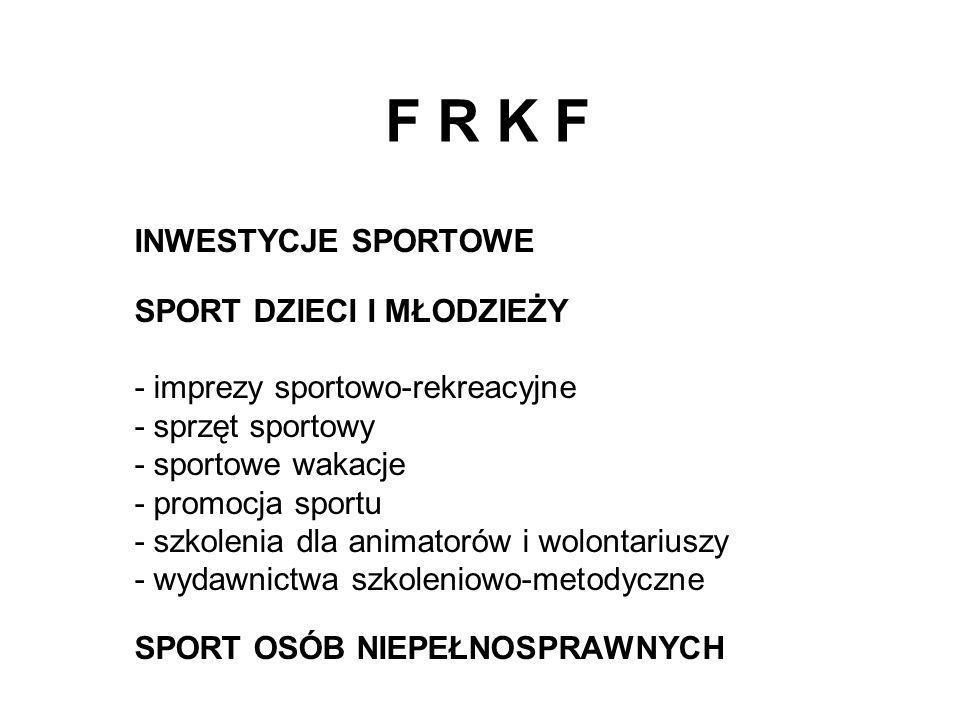 F R K F INWESTYCJE SPORTOWE SPORT DZIECI I MŁODZIEŻY - imprezy sportowo-rekreacyjne - sprzęt sportowy - sportowe wakacje - promocja sportu - szkolenia