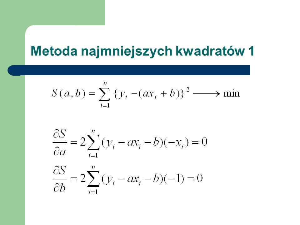 Metoda najmniejszych kwadratów 2 - układ równań