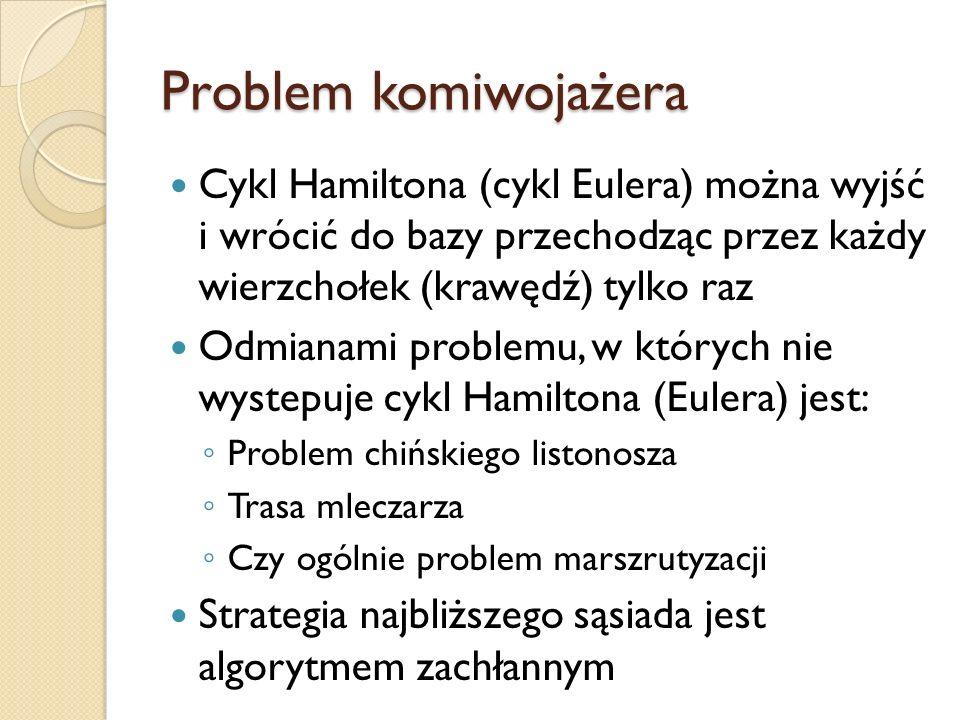 Problem komiwojażera Cykl Hamiltona (cykl Eulera) można wyjść i wrócić do bazy przechodząc przez każdy wierzchołek (krawędź) tylko raz Odmianami probl