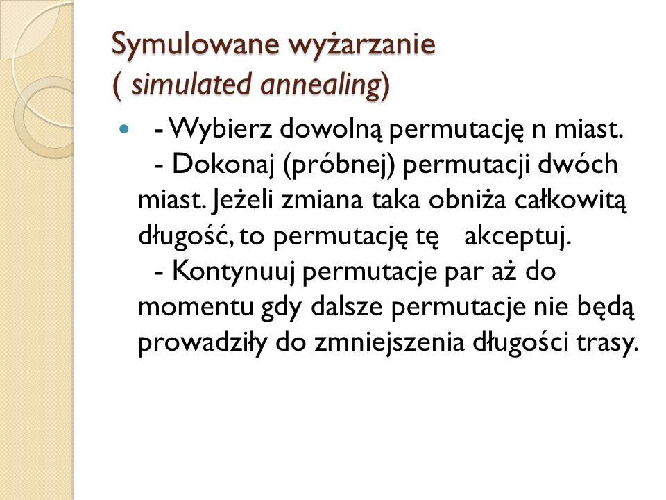 Symulowane wyżarzanie ( simulated annealing) - Wybierz dowolną permutację n miast. - Dokonaj (próbnej) permutacji dwóch miast. Jeżeli zmiana taka obni