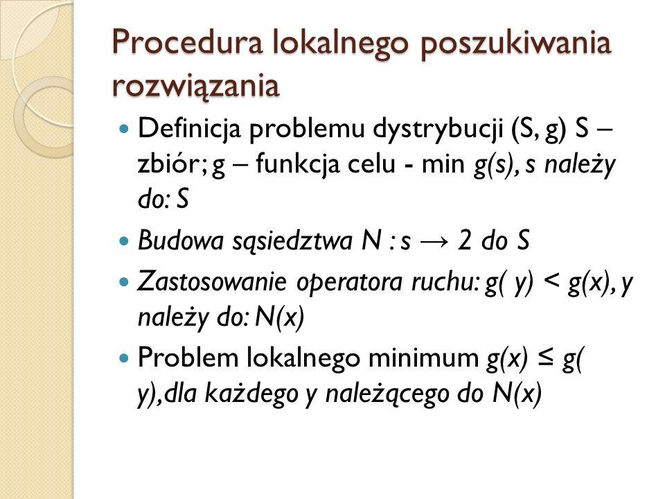 Procedura lokalnego poszukiwania rozwiązania Definicja problemu dystrybucji (S, g) S – zbiór; g – funkcja celu - min g(s), s należy do: S Budowa sąsie