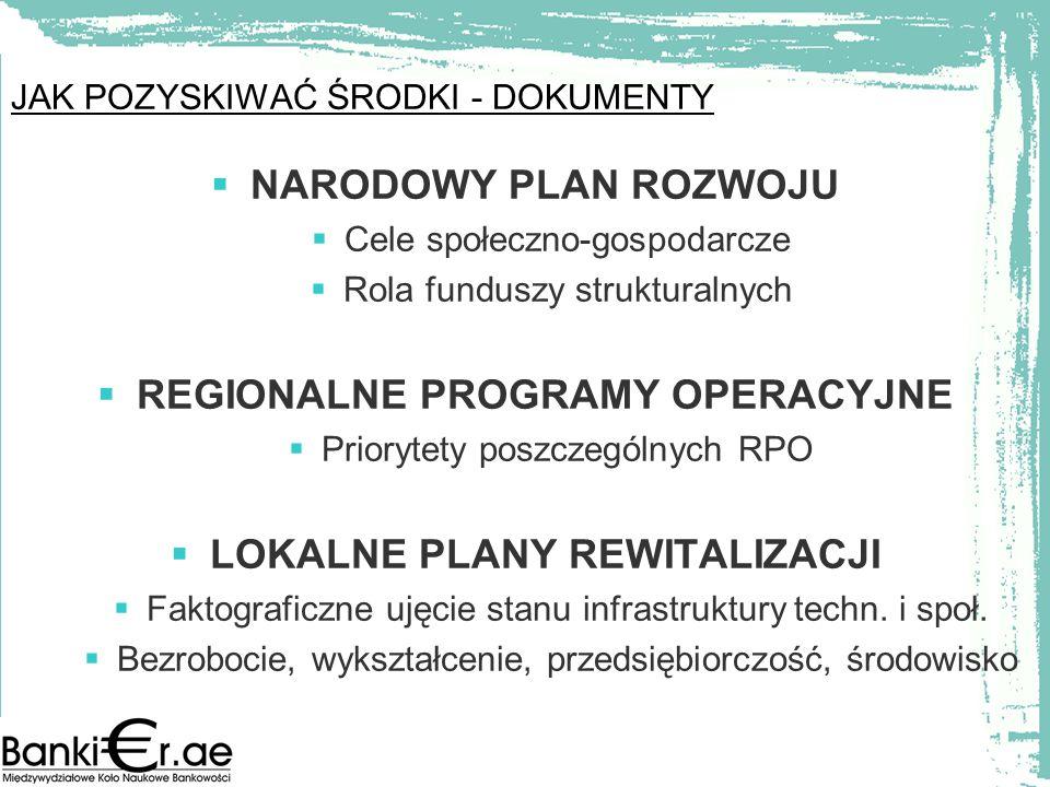 JAK POZYSKIWAĆ ŚRODKI - DOKUMENTY NARODOWY PLAN ROZWOJU Cele społeczno-gospodarcze Rola funduszy strukturalnych REGIONALNE PROGRAMY OPERACYJNE Prioryt