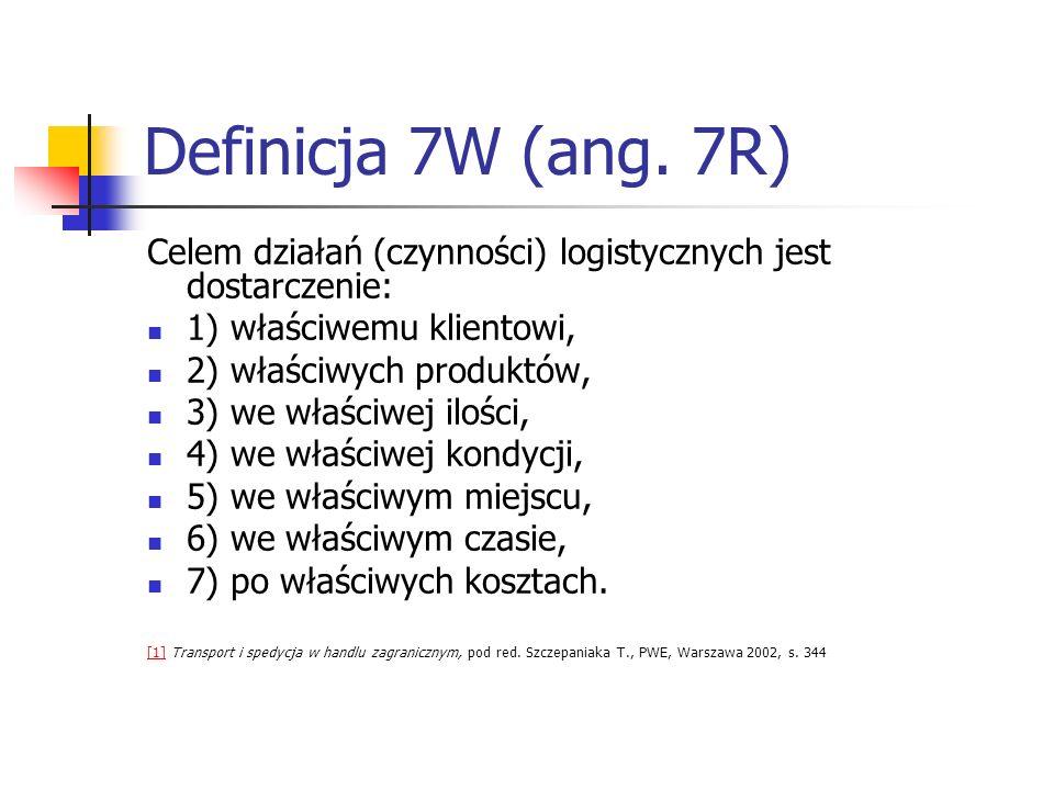Definicja 7W (ang. 7R) Celem działań (czynności) logistycznych jest dostarczenie: 1) właściwemu klientowi, 2) właściwych produktów, 3) we właściwej il