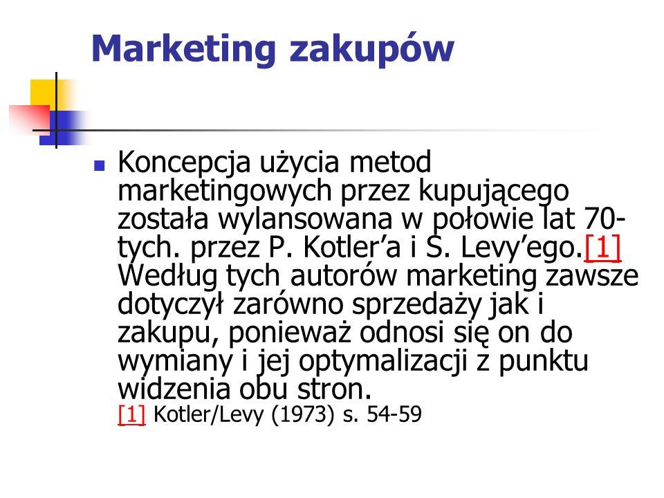 Marketing zakupów Koncepcja użycia metod marketingowych przez kupującego została wylansowana w połowie lat 70- tych. przez P. Kotlera i S. Levyego.[1]