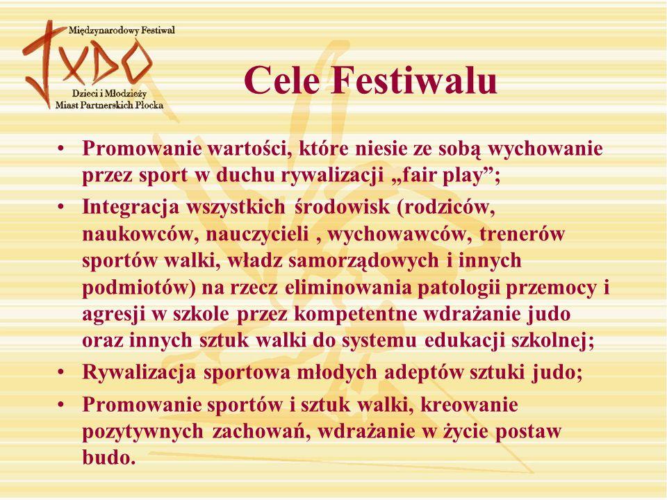 Cele Festiwalu Promowanie wartości, które niesie ze sobą wychowanie przez sport w duchu rywalizacji fair play; Integracja wszystkich środowisk (rodzic