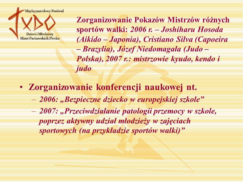 Zorganizowanie konferencji naukowej nt. –2006: Bezpieczne dziecko w europejskiej szkole –2007: Przeciwdziałanie patologii przemocy w szkole, poprzez a