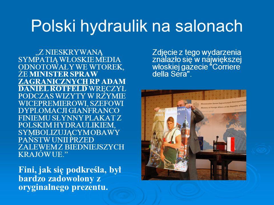 Polski hydraulik na salonach Z NIESKRYWANĄ SYMPATIĄ WŁOSKIE MEDIA ODNOTOWAŁY WE WTOREK, ŻE MINISTER SPRAW ZAGRANICZNYCH RP ADAM DANIEL ROTFELD WRĘCZYŁ