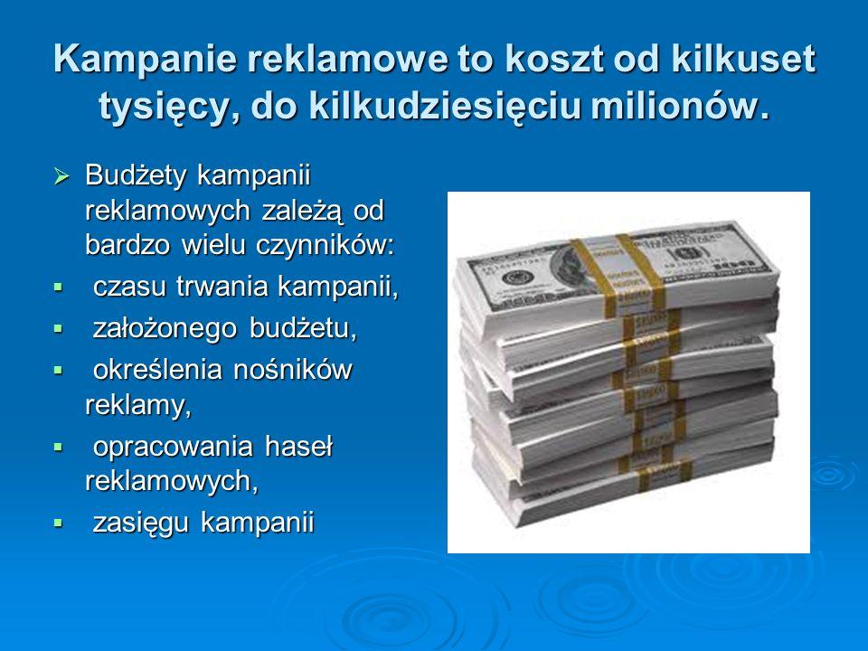 Kampanie reklamowe to koszt od kilkuset tysięcy, do kilkudziesięciu milionów. Budżety kampanii reklamowych zależą od bardzo wielu czynników: Budżety k