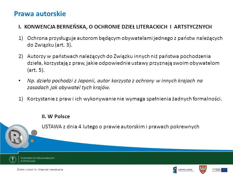 Prawa autorskie I. KONWENCJA BERNEŃSKA, O OCHRONIE DZIEŁ LITERACKICH I ARTSTYCZNYCH 1)Ochrona przysługuje autorom będącym obywatelami jednego z państw