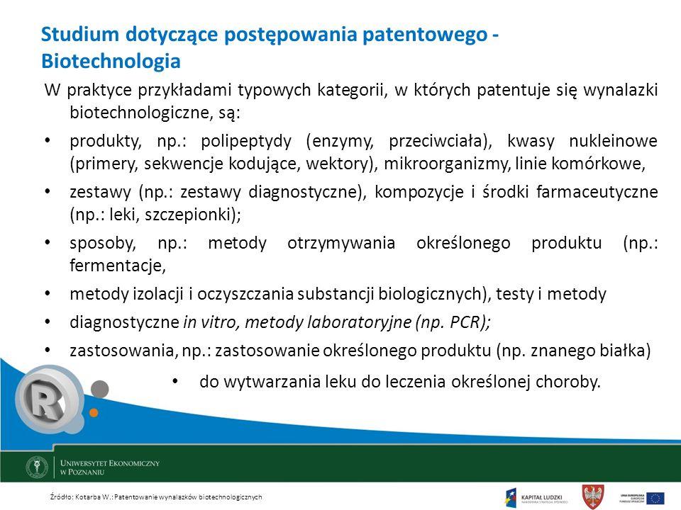 Studium dotyczące postępowania patentowego - Biotechnologia W praktyce przykładami typowych kategorii, w których patentuje się wynalazki biotechnologi