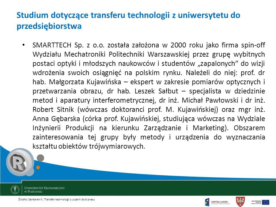 Studium dotyczące transferu technologii z uniwersytetu do przedsiębiorstwa SMARTTECH Sp. z o.o. została założona w 2000 roku jako firma spin-off Wydzi