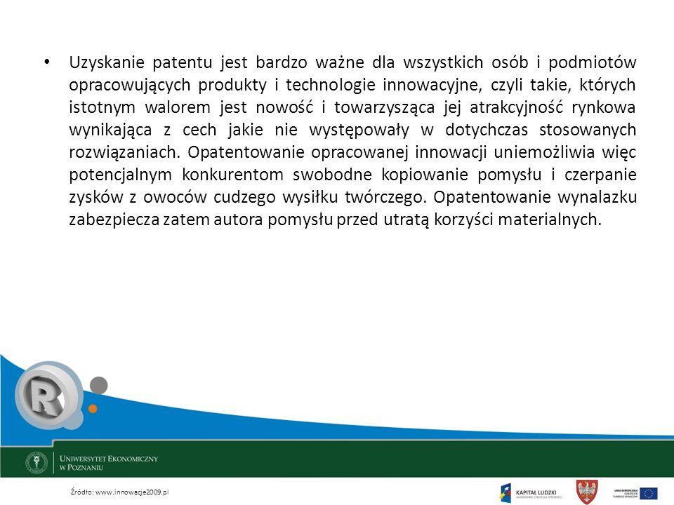 Uzyskanie patentu jest bardzo ważne dla wszystkich osób i podmiotów opracowujących produkty i technologie innowacyjne, czyli takie, których istotnym w