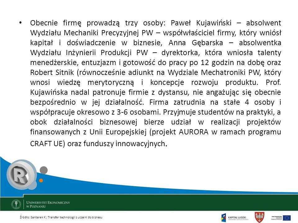 Obecnie firmę prowadzą trzy osoby: Paweł Kujawiński – absolwent Wydziału Mechaniki Precyzyjnej PW – współwłaściciel firmy, który wniósł kapitał i dośw
