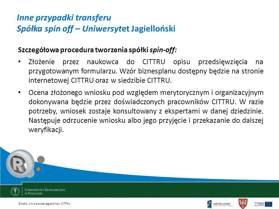 Inne przypadki transferu Spółka spin off – Uniwersytet Jagielloński Szczegółowa procedura tworzenia spółki spin-off: Złożenie przez naukowca do CITTRU