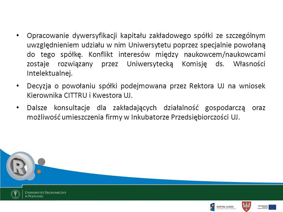 Opracowanie dywersyfikacji kapitału zakładowego spółki ze szczególnym uwzględnieniem udziału w nim Uniwersytetu poprzez specjalnie powołaną do tego sp