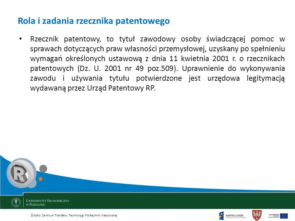 Rola i zadania rzecznika patentowego Rzecznik patentowy, to tytuł zawodowy osoby świadczącej pomoc w sprawach dotyczących praw własności przemysłowej,