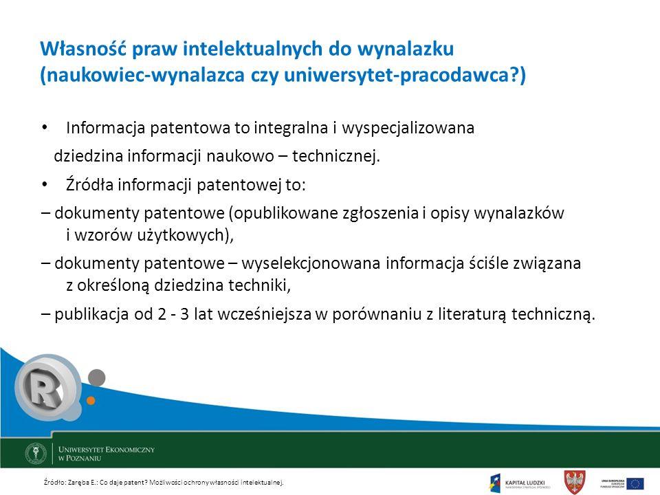 Własność praw intelektualnych do wynalazku (naukowiec-wynalazca czy uniwersytet-pracodawca?) Informacja patentowa to integralna i wyspecjalizowana dzi