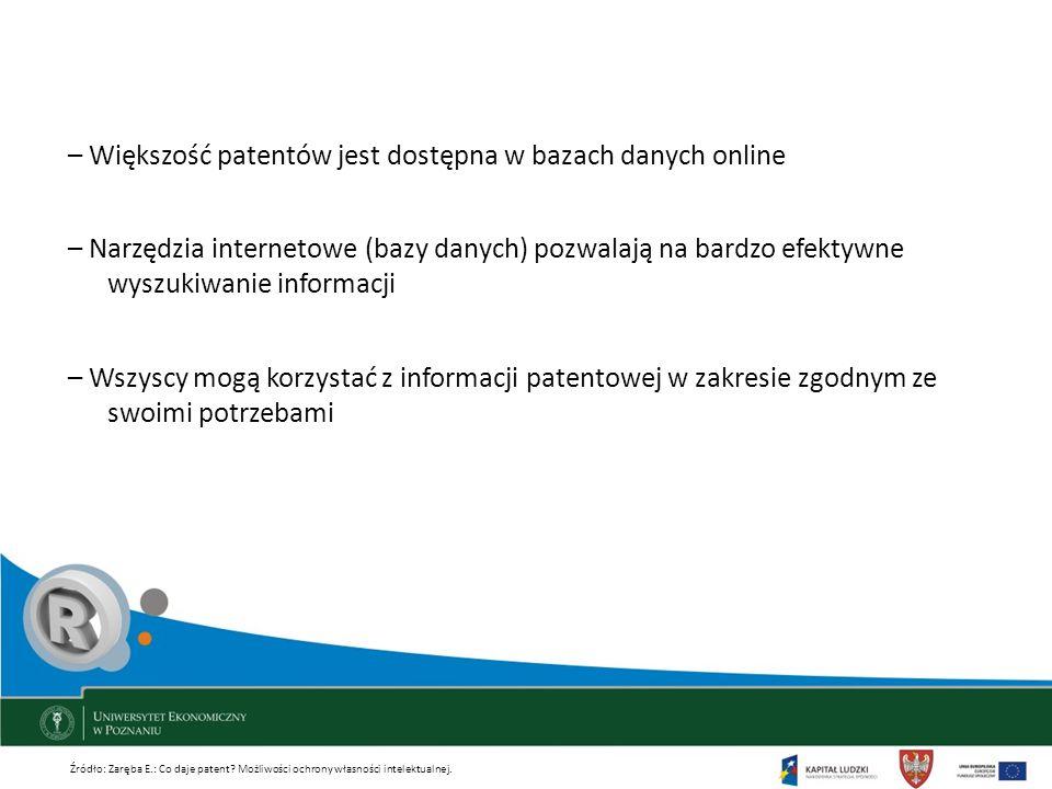 – Większość patentów jest dostępna w bazach danych online – Narzędzia internetowe (bazy danych) pozwalają na bardzo efektywne wyszukiwanie informacji