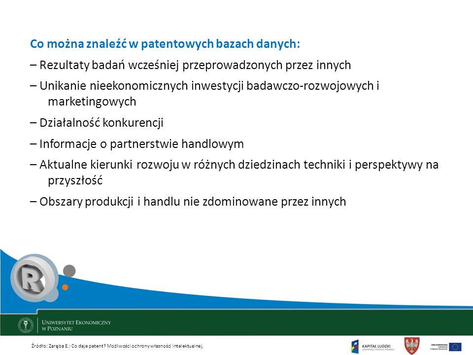 Co można znaleźć w patentowych bazach danych: – Rezultaty badań wcześniej przeprowadzonych przez innych – Unikanie nieekonomicznych inwestycji badawcz