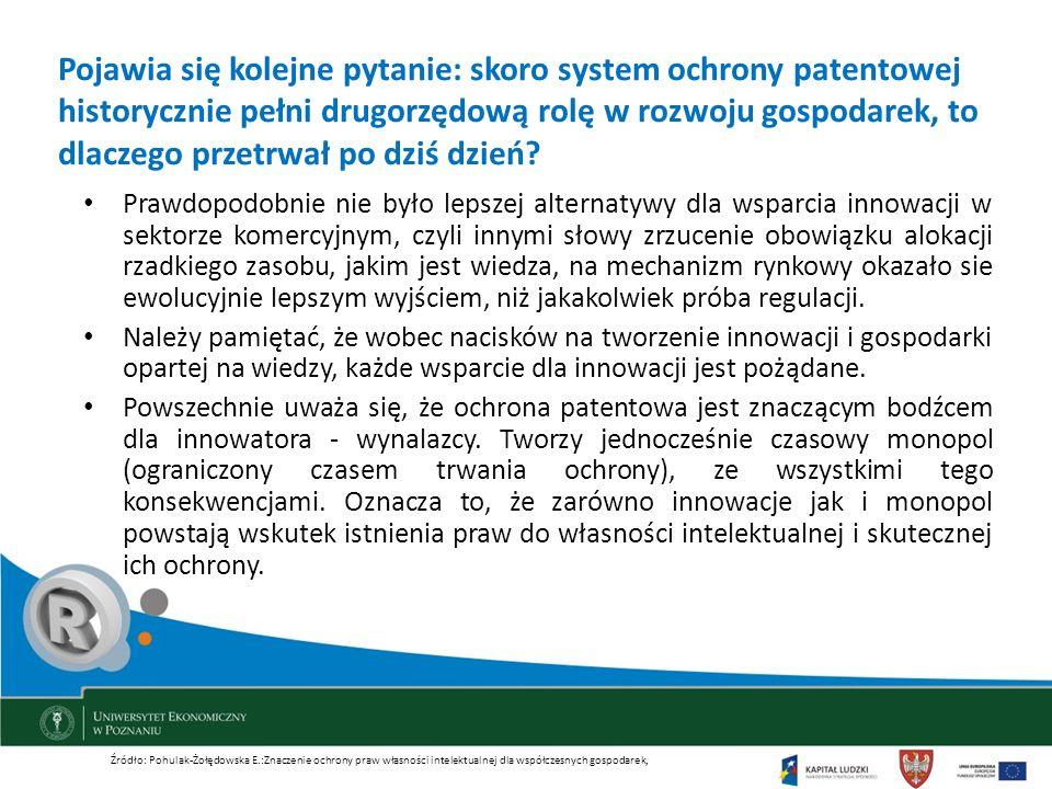 Pojawia się kolejne pytanie: skoro system ochrony patentowej historycznie pełni drugorzędową rolę w rozwoju gospodarek, to dlaczego przetrwał po dziś