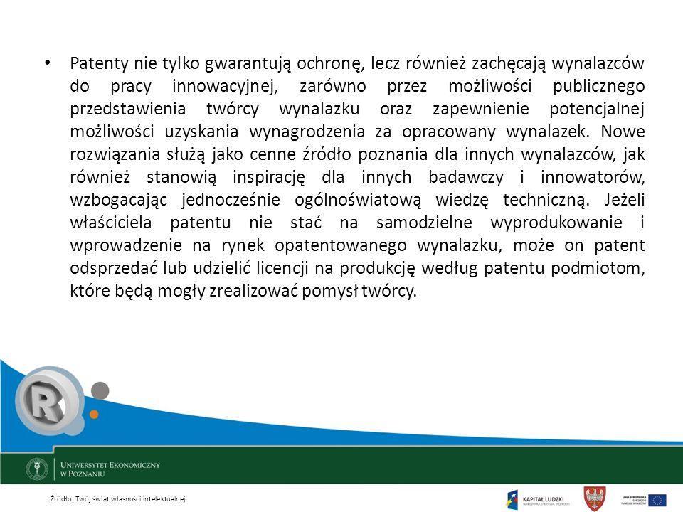 Patenty nie tylko gwarantują ochronę, lecz również zachęcają wynalazców do pracy innowacyjnej, zarówno przez możliwości publicznego przedstawienia twó