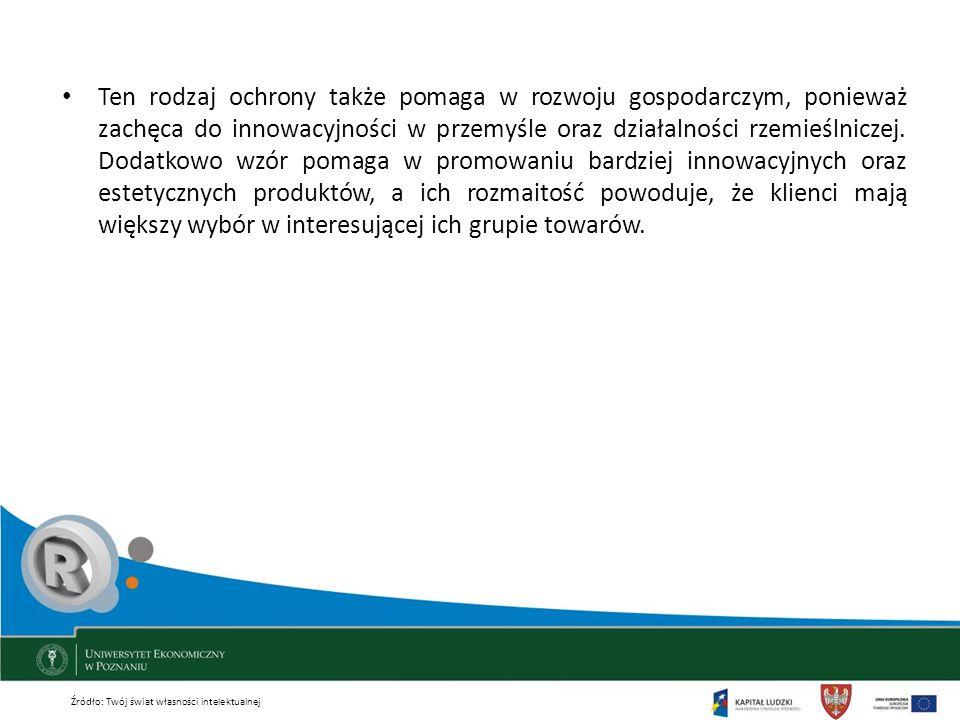 Ten rodzaj ochrony także pomaga w rozwoju gospodarczym, ponieważ zachęca do innowacyjności w przemyśle oraz działalności rzemieślniczej. Dodatkowo wzó