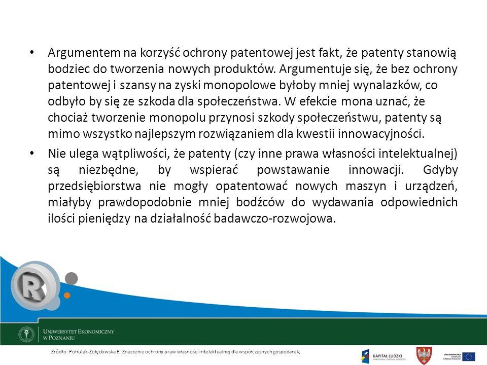 Argumentem na korzyść ochrony patentowej jest fakt, że patenty stanowią bodziec do tworzenia nowych produktów. Argumentuje się, że bez ochrony patento