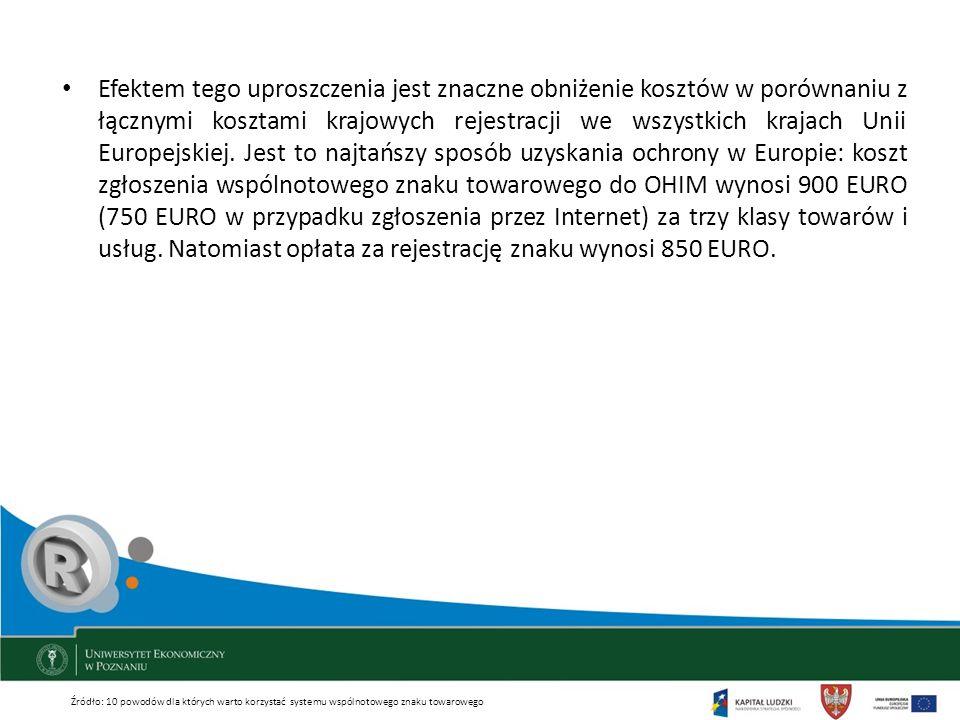 Efektem tego uproszczenia jest znaczne obniżenie kosztów w porównaniu z łącznymi kosztami krajowych rejestracji we wszystkich krajach Unii Europejskie