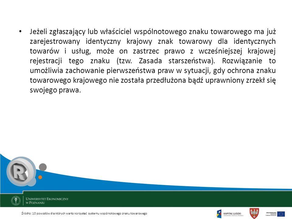 Jeżeli zgłaszający lub właściciel wspólnotowego znaku towarowego ma już zarejestrowany identyczny krajowy znak towarowy dla identycznych towarów i usł