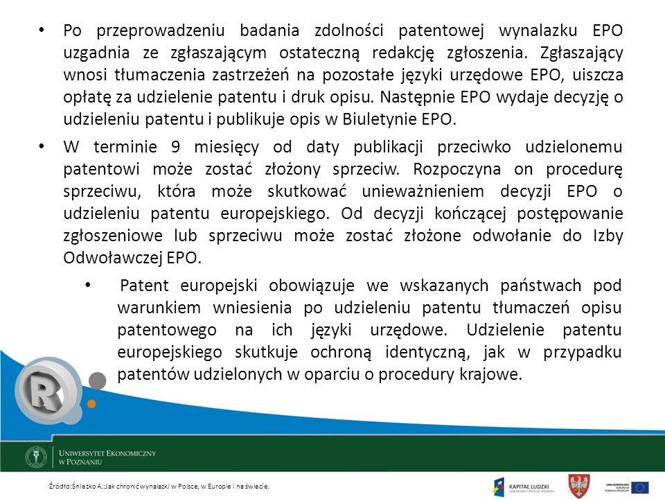 Po przeprowadzeniu badania zdolności patentowej wynalazku EPO uzgadnia ze zgłaszającym ostateczną redakcję zgłoszenia. Zgłaszający wnosi tłumaczenia z