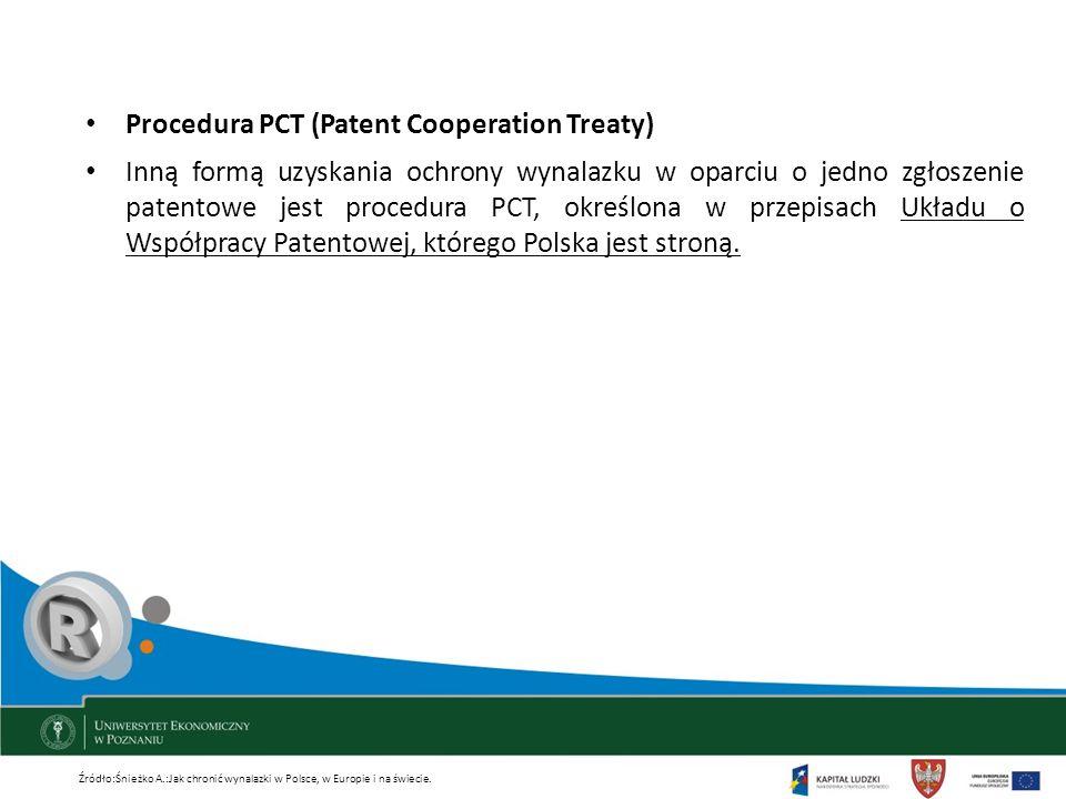 Procedura PCT (Patent Cooperation Treaty) Inną formą uzyskania ochrony wynalazku w oparciu o jedno zgłoszenie patentowe jest procedura PCT, określona
