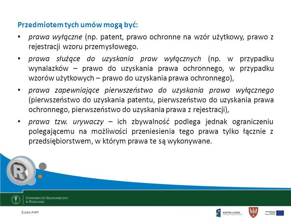 Przedmiotem tych umów mogą być: prawa wyłączne (np. patent, prawo ochronne na wzór użytkowy, prawo z rejestracji wzoru przemysłowego. prawa służące do