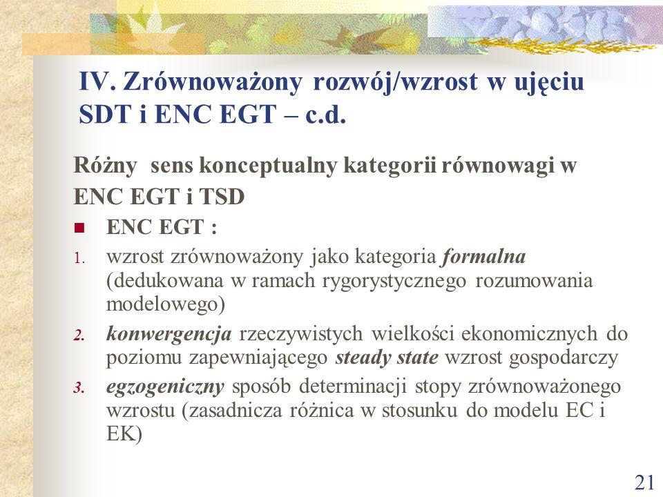 22 IV.Zrównoważony rozwój/wzrost w ujęciu SDT i ENC EGT – c.d.