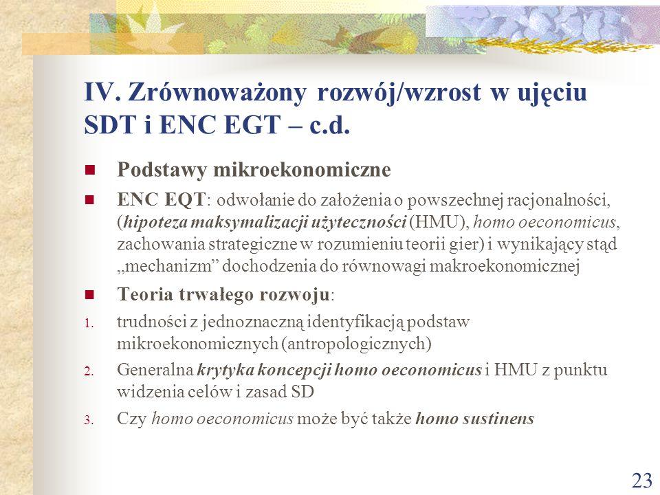24 IV.Zrównoważony rozwój/wzrost w ujęciu SDT i ENC EGT – c.d.