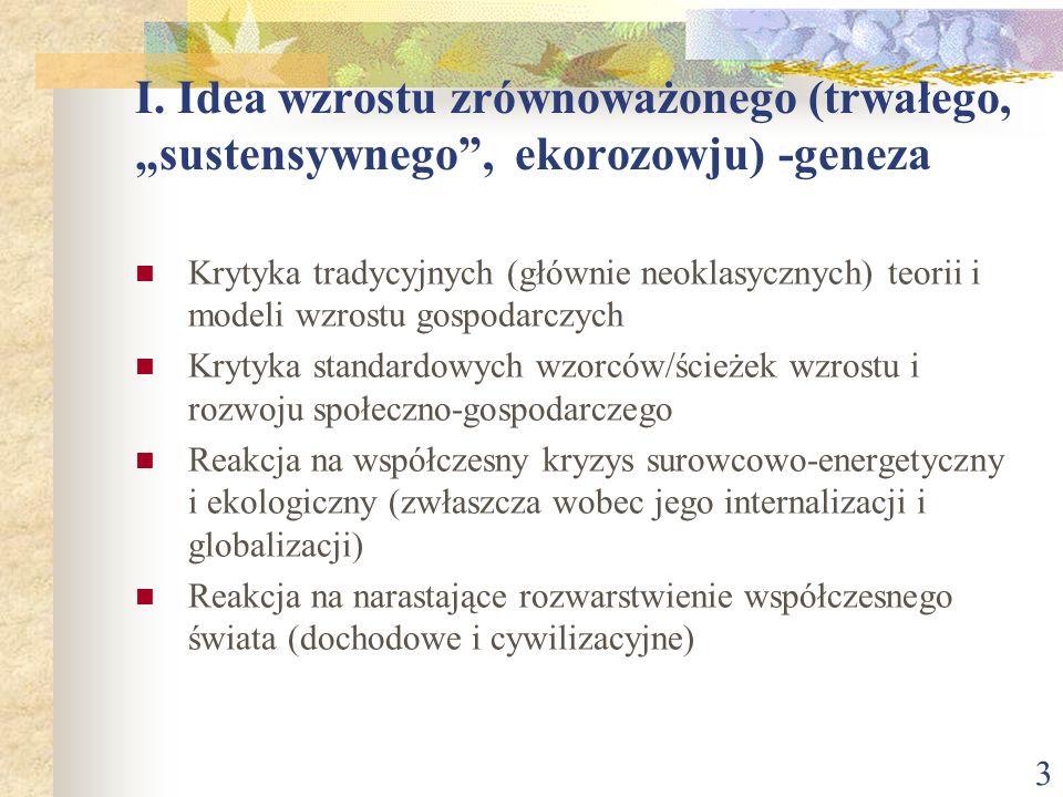 4 I.Idea wzrostu zrównoważonego, trwałego, sustensywnego, ekorozwoju) –geneza c.d.