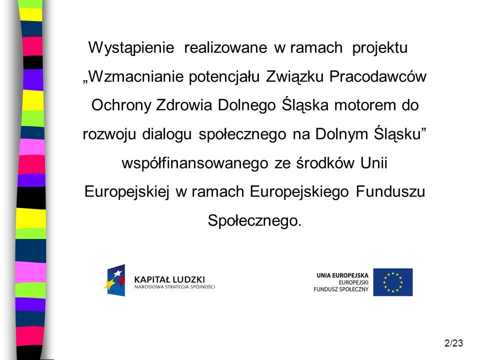 2/23 Wystąpienie realizowane w ramach projektu Wzmacnianie potencjału Związku Pracodawców Ochrony Zdrowia Dolnego Śląska motorem do rozwoju dialogu sp