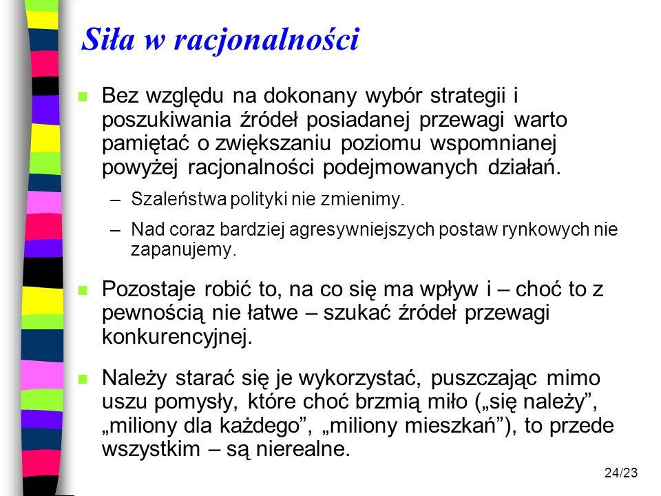 24/23 Siła w racjonalności n Bez względu na dokonany wybór strategii i poszukiwania źródeł posiadanej przewagi warto pamiętać o zwiększaniu poziomu ws