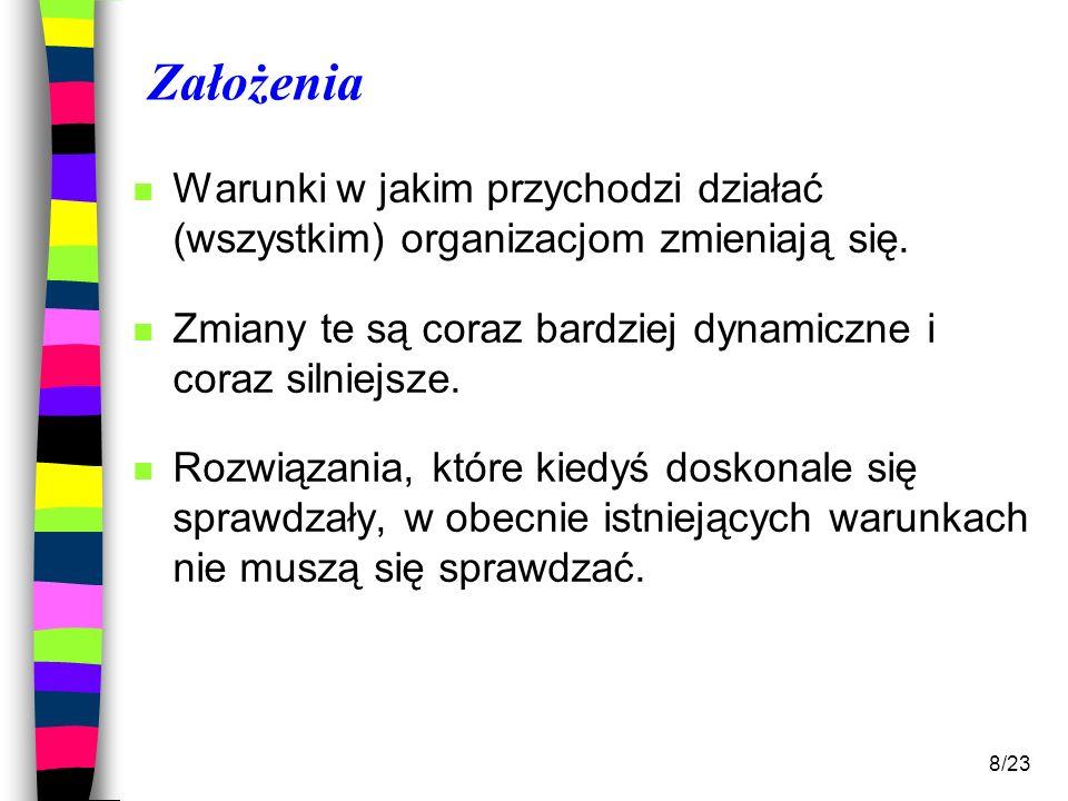 19/23 Wiedza źródłem przewagi konkurencyjnej n W ochronie zdrowia podstawową sukcesu jest wiedza.