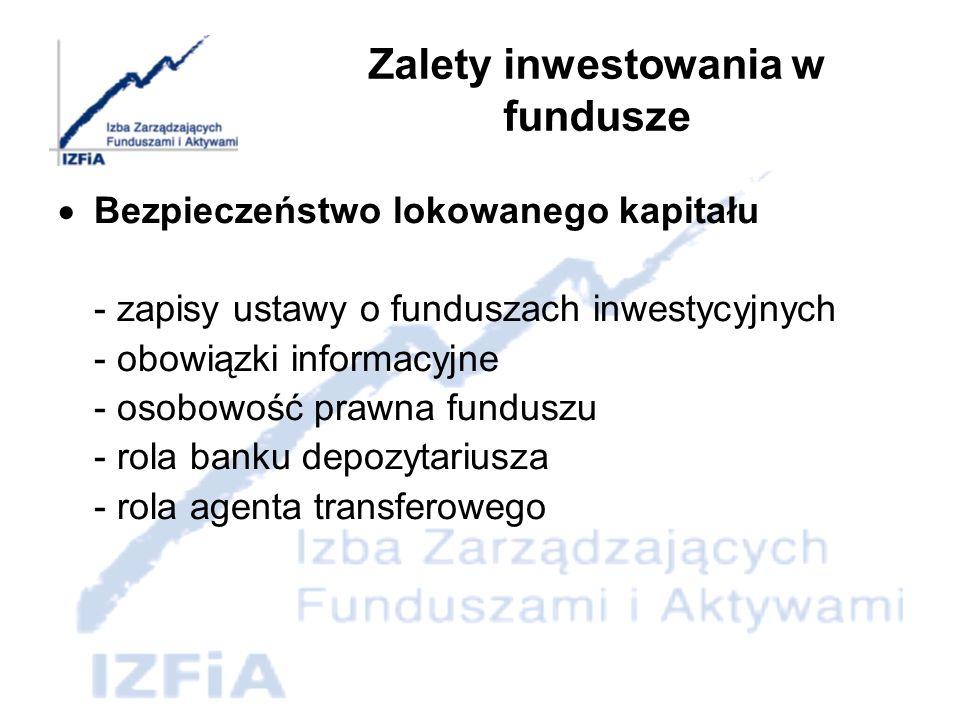Zalety inwestowania w fundusze Dywersyfikacja portfela - duża skala zgromadzonych przez fundusz inwestycyjny środków pieniężnych umożliwia mu nabywanie różnych instrumentów finansowych, co prowadzi do rozproszenia ryzyka związanego z pojedynczą inwestycją, na skalę większą niż w przypadku indywidualnego inwestora.