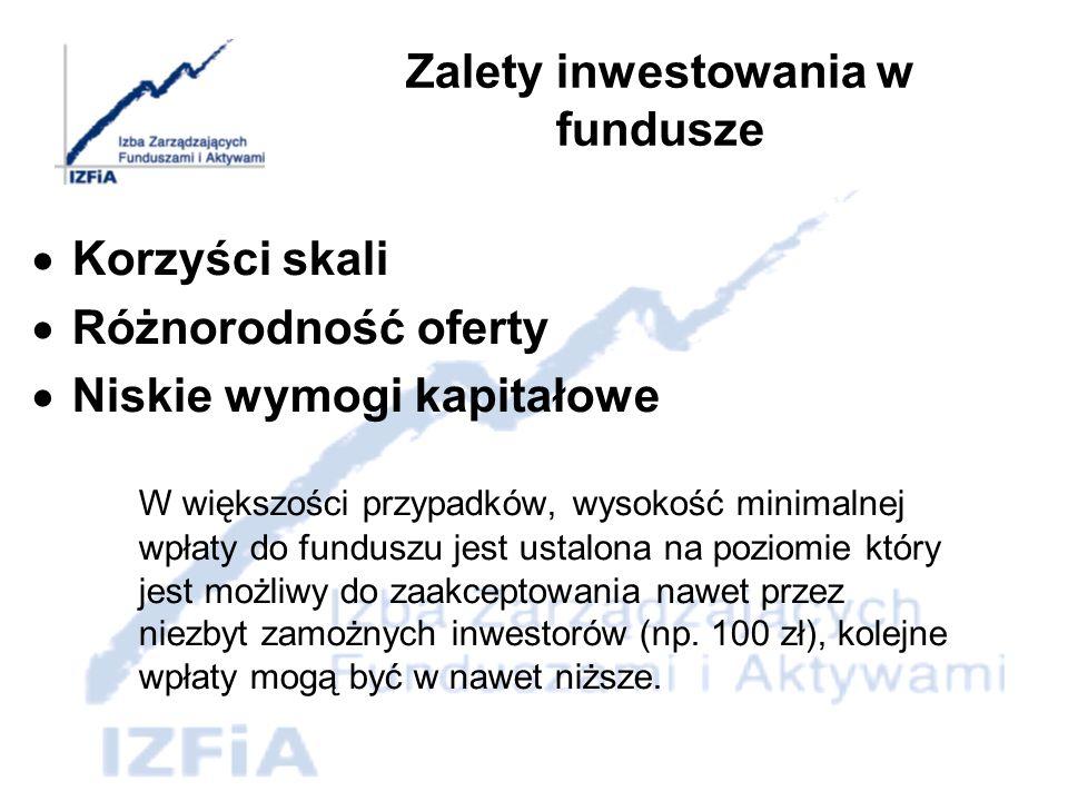 Zalety inwestowania w fundusze możliwość uczestniczenia w programach systematycznego oszczędzania przeznaczonych dla inwestorów zainteresowanych długotrwałym (kilku-, kilkunastoletnim) oszczędzaniem w funduszu, prowadzenie indywidualnych kont emerytalnych umożliwiających indywidualne oszczędzanie na emeryturę (dodatkową), prowadzenie pracowniczych programów emerytalnych przeznaczonych dla pracowników przedsiębiorstw, które podpisały z funduszem umowę o prowadzenie takiej formy oszczędzania na emeryturę dla swoich pracowników.