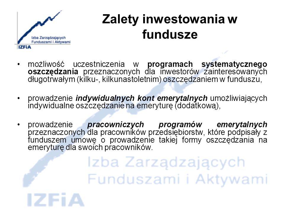 Minusy inwestowania w funduszach Brak gwarantowanej stopy zwrotu z inwestycji Opłaty Ryzyko zmniejszenia zainwestowanego kapitału przy wycofaniu środków w dowolnie wybranym okresie Brak bezpośredniego wpływu na politykę inwestycyjną