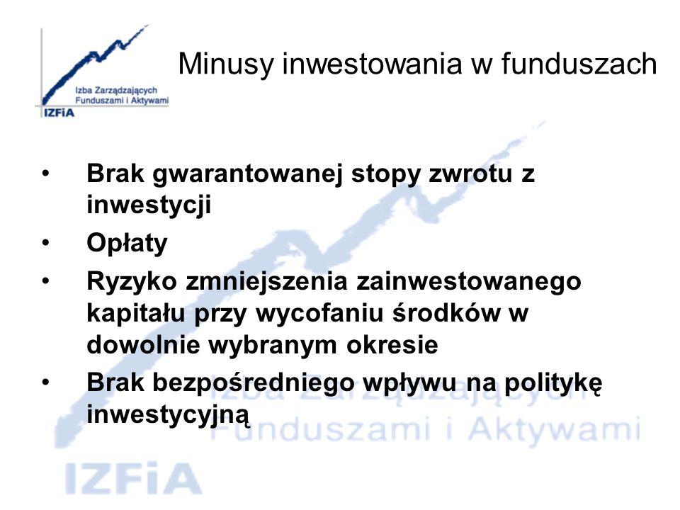 Koszty Inwestowanie w tytuły uczestnictwa funduszy inwestycyjnych obciążone jest dwoma podstawowymi rodzajami kosztów: - kosztami zarządzania, - opłatami manipulacyjnymi.