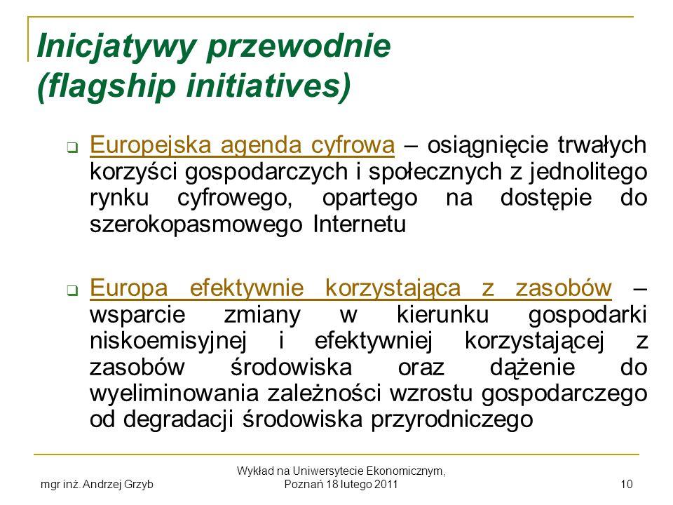 mgr inż. Andrzej Grzyb Wykład na Uniwersytecie Ekonomicznym, Poznań 18 lutego 2011 10 Inicjatywy przewodnie (flagship initiatives) Europejska agenda c