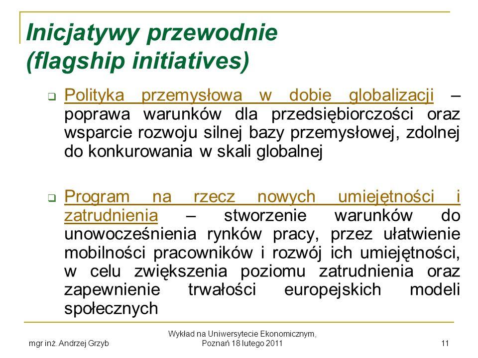 mgr inż. Andrzej Grzyb Wykład na Uniwersytecie Ekonomicznym, Poznań 18 lutego 2011 11 Inicjatywy przewodnie (flagship initiatives) Polityka przemysłow