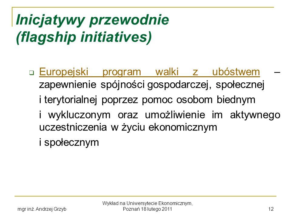 mgr inż. Andrzej Grzyb Wykład na Uniwersytecie Ekonomicznym, Poznań 18 lutego 2011 12 Inicjatywy przewodnie (flagship initiatives) Europejski program